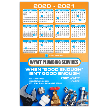 Calendar Magnets Square Corners 4