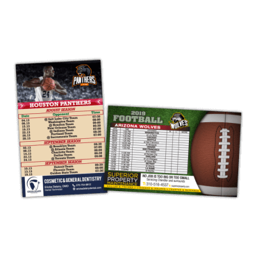 Sports Schedule Magnets Square Corners 5.5