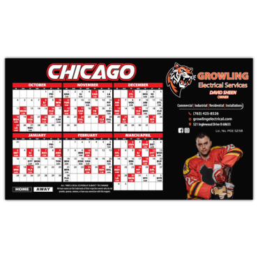 Sports Schedule Magnets Square Corners 7